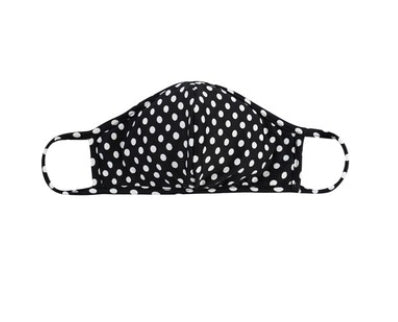 Black with ivory polka dots Face mask