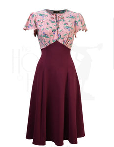 40's Grable Tea Dress in Pixie Berry by House of Foxy