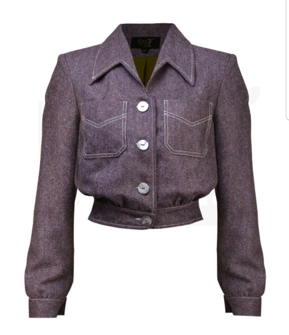 40's Americana Button Jacket in Plum Wool by House of Foxy