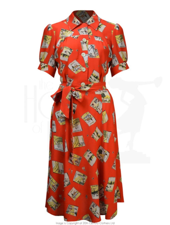 40's Shirt Waister Dress in Postcard Print by House of Foxy