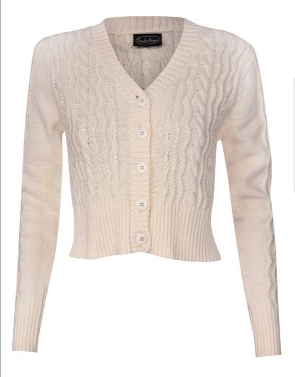 Camilla Fisherman's Knit Crop Cardigan in Cream by Voodoo Vixen