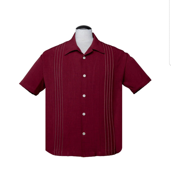 The Otis Button Up Men's Shirt in Ruby by Steady Clothing