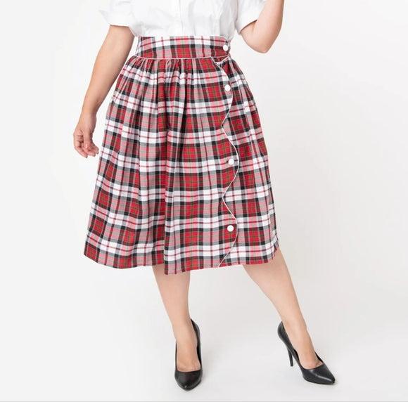 Red and Black Plaid Scalloped Button Women's Romero Swing Skirt by Unique Vintage