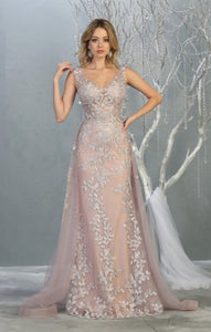 A-Line V-neck Lace Sweep Train Evening Dress