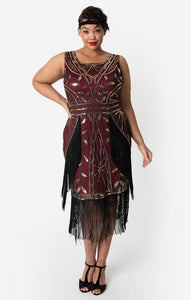 Ambroise Flapper Burgundy Dress by Unique Vintage