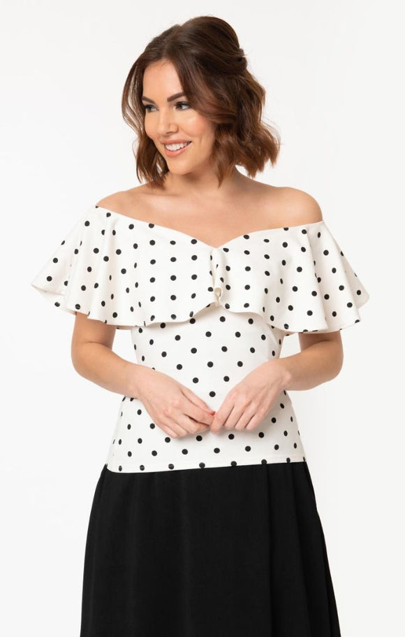Unique Vintage White & Black Polka Dot Off Shoulder Ruffle Frenchie Top