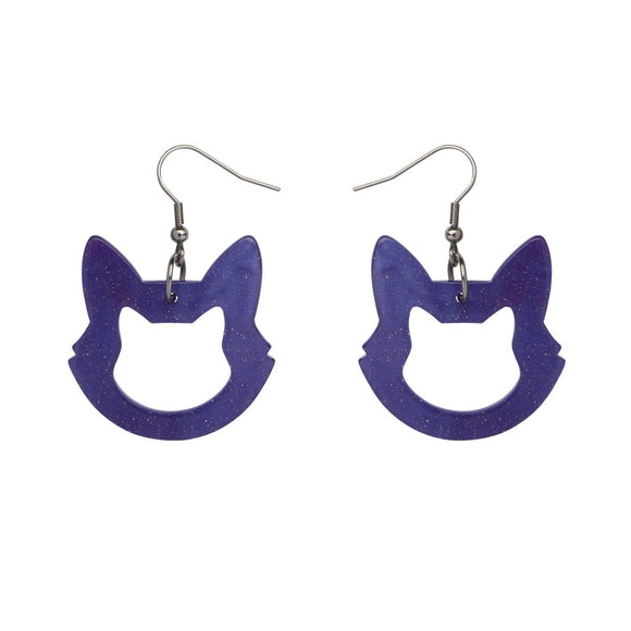 Cat Head Ripple Glitter Resin Drop Earrings in Purple by Erstwilder