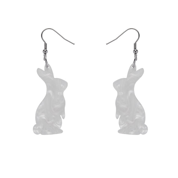 White Bunny Textured Resin Drop Earrings by Erstwilder