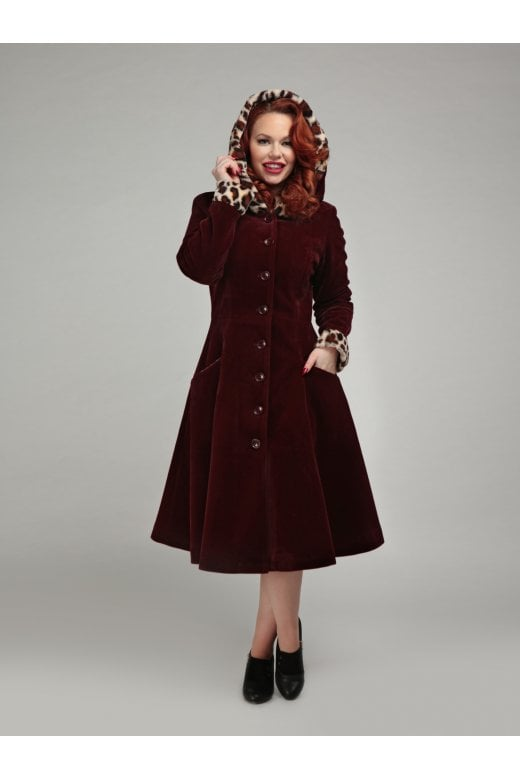 Women's Hazel Leopard Swing Coat by Collectif Mainline