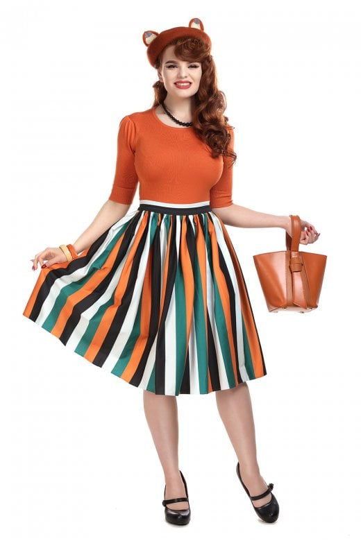 Jasmine Pumpkin Stripe Swing Skirt by Collectif