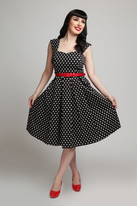 Jill Polka Dot Swing Dress by Collectif Mainline