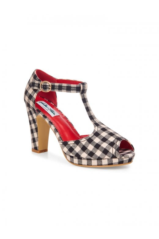 Jinny Gingham T-bar High Heels by Lulu Hun