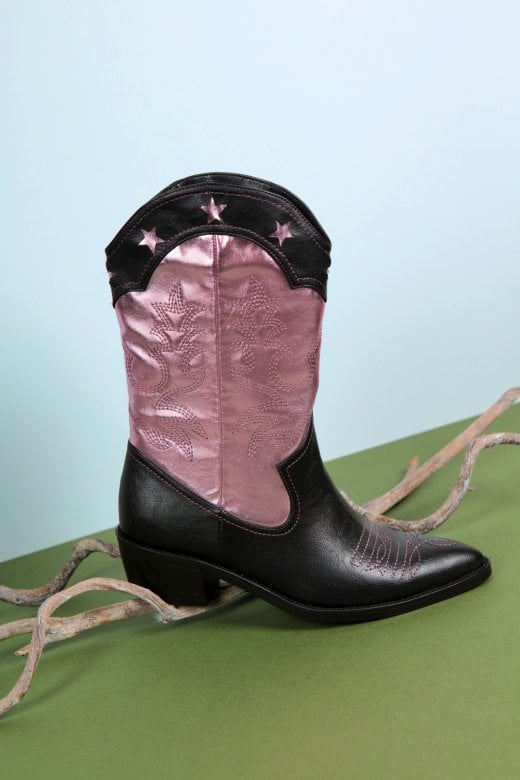 Jolene Stars Boots in Pink & Black by Lulu Hun
