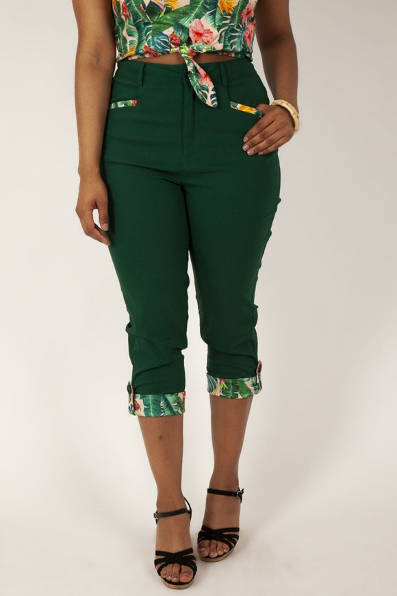 Ivy Green Capri Trousers with Pockets by Voodoo Vixen
