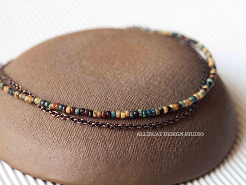 Boho Picasso Copper Anklet - Small Beads