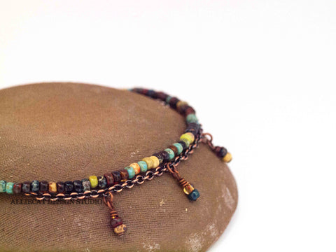 Boho Picasso Copper Anklet with Dangles - Large Beads