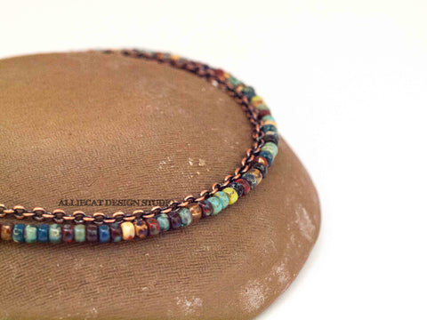 Boho Picasso Copper Anklet - Large Beads