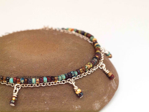 Boho Picasso Silver Anklet with Dangles - Large Beads