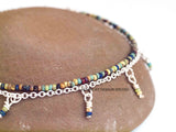 Boho Picasso Silver Anklet with Dangles - Small Beads