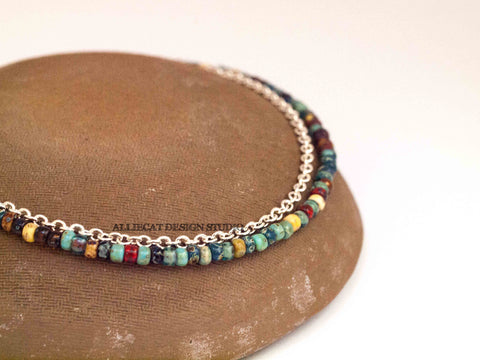 Boho Picasso Silver Anklet - Large Beads