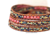 3x Red Plaster Multi Wrap Bracelet