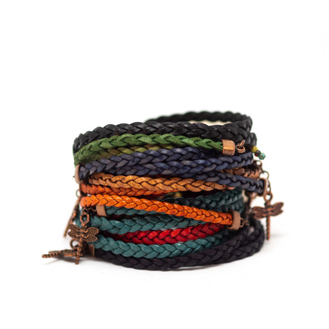 Various Colours Braided Dragonfly Wrap Bracelet