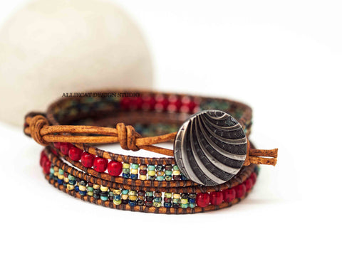 Red Multi Wrap Bracelet (6.0 - 6.5 inches)