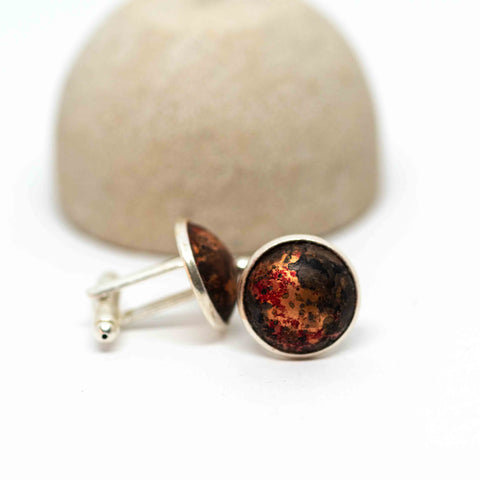 Recycled Metal Red Patina Cuff Links