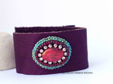 Sparkly Orange Oval Leather Cuff