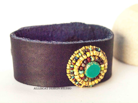 Yellow Circle Leather Cuff