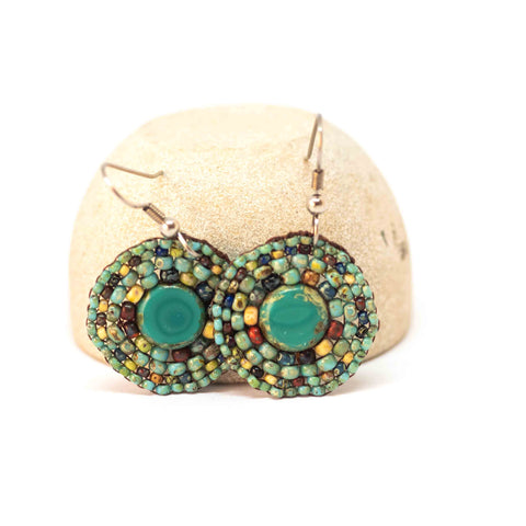 Turquoise Green Picasso Bead Stitched Round Earrings