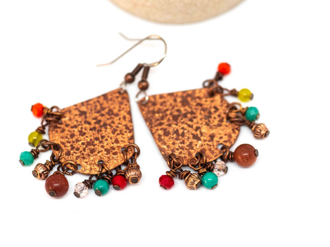 Recycled Metal Triangle Copper Fun Dangle Earrings