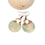 Recycled Metal Pale Green Half Moon Copper Earrings