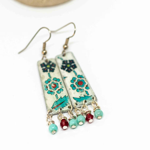 Recycled Rustic Resin Metal Blue White Floral Rectangle Earrings