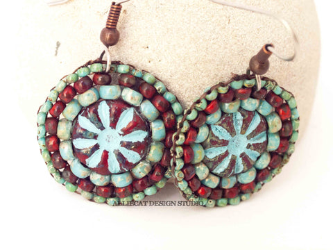 Red Turquoise Mini Round Earrings