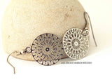 Stainless Steel Small Filigree Medallion Earrings