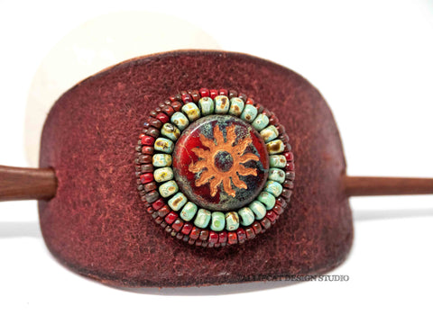 Boho Leather Hair Accessory, Hair Pick, Hair Pin Red Turquoise Sun