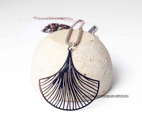 Silver Filigree Ginko Necklace