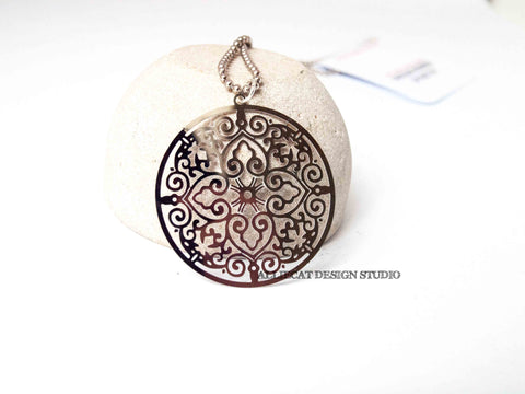 Large Silver Medallion Necklace