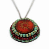 Tribal Orange Red Turquoise Sun Necklace