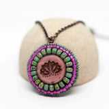 Pink Turquoise Lotus Necklace