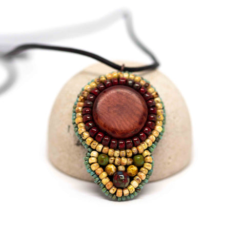Tribal Orange Shield Necklace