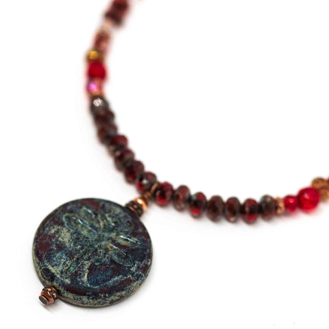Rustic Red Beaded Dragonfly Necklace