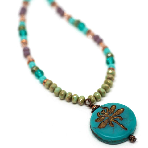 Rustic Turquoise Beaded Dragonfly Necklace
