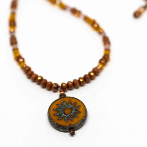 Yellow Beaded Sun Necklace