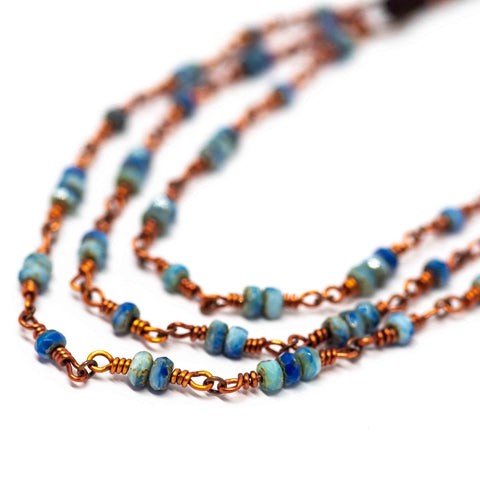 Triple Picasso Blue Necklace