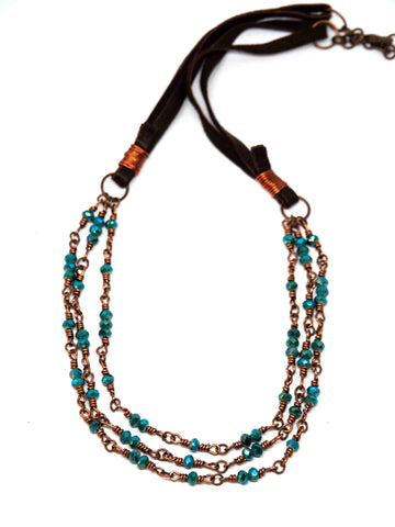 Triple Sparkly Teal Necklace