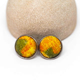 Recycled Metal Yellow Green Stainless Steel Stud Earrings