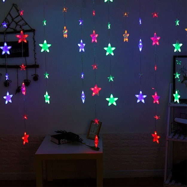 Star Curtain String Lights | 40 Stars | Multi LED