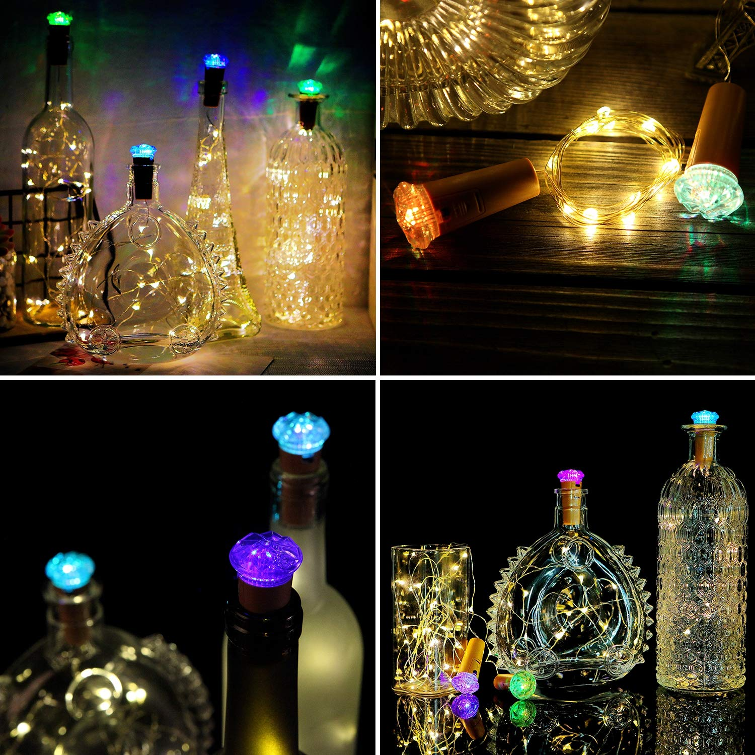 Fairy Lights with Bottle Cork and LED Diamond - Battery Operated | Pack of 10 - Chronos